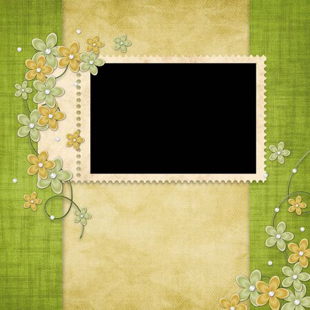 Holiday card from flowers and pearl on the abstract background photo