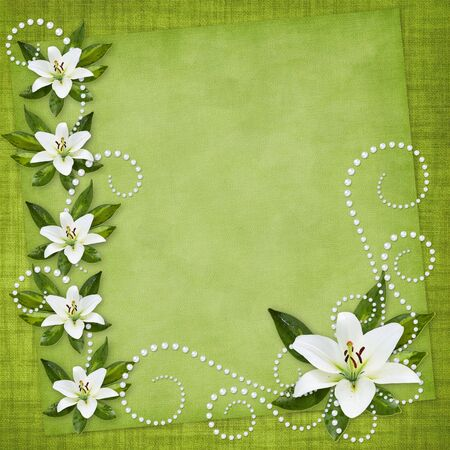 Card for the holiday  with flowers on the abstract background Stock Photo - 6975464