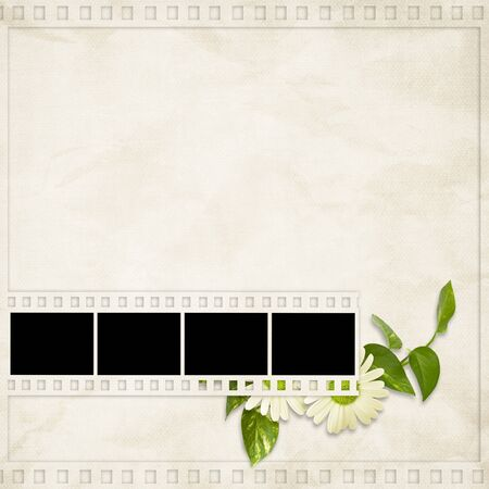 Card for the holiday  with plant and  flowers on the abstract background photo