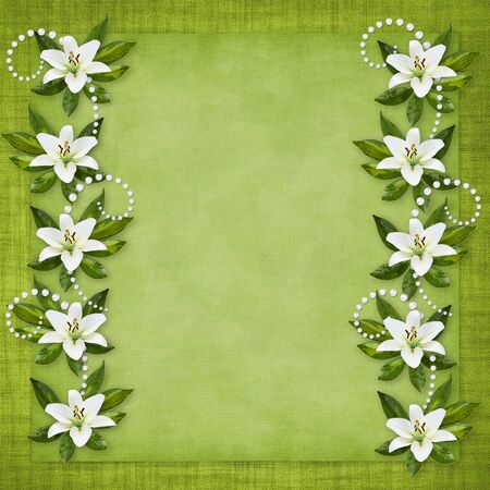 Card for the holiday  with flowers on the abstract background Stock Photo - 7032159
