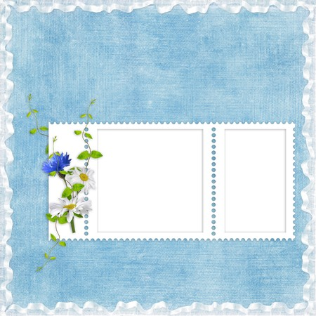 Card for the holiday  with flowers on the blue background photo