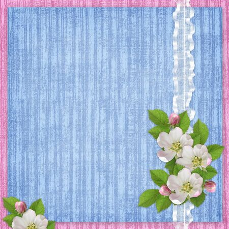 Card for the holiday  with flowers on blue background photo