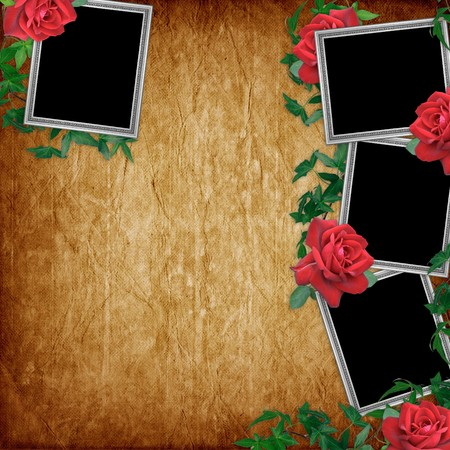 wedlock: Vintage card for the holiday with red rose on the abstract background