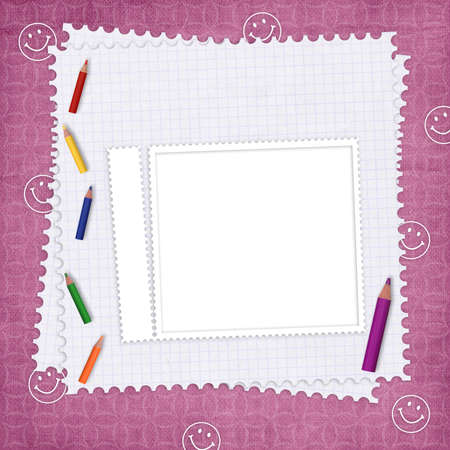School card with paper and pencils on the abstract background photo