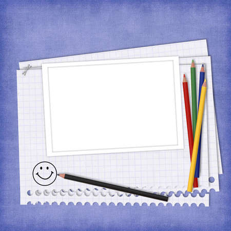 School card with paper and pencils on the abstract background Stock Photo