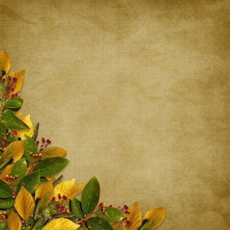 Card for the holiday  with autumn leaves on the abstract background