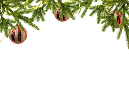 Card for the holiday with branches and balls on the white background Stock Photo - 8145997