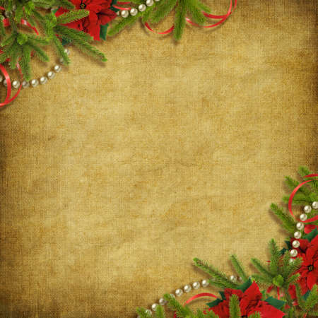 Card for the holiday with branches and flower on the abstract background photo