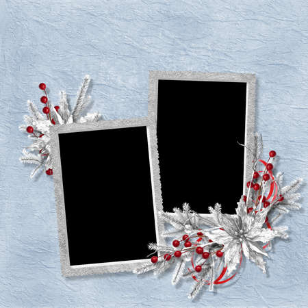 Card for the holiday with branches on the abstract background photo