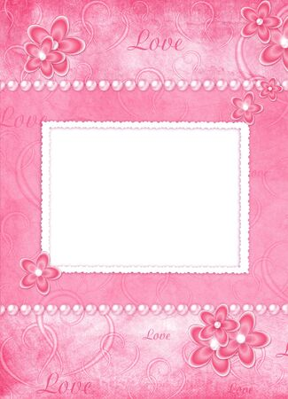 card from flowers and pearl on the abstract background photo