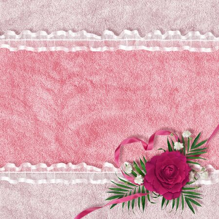 card for the holiday with rose on the abstract background