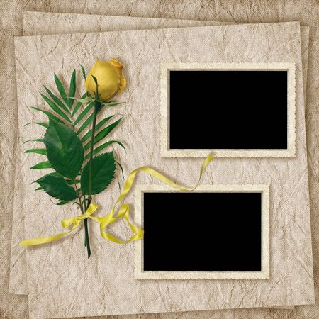 Vintage card for the holiday with rose on the abstract background