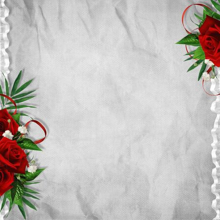 album: Vintage card for the holiday with red rose on the abstract background