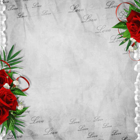 alienated: Vintage card for the holiday with red rose on the abstract background