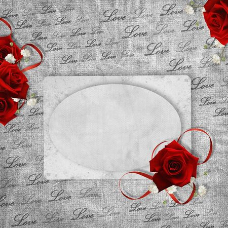 Vintage card for the holiday with red rose on the abstract background