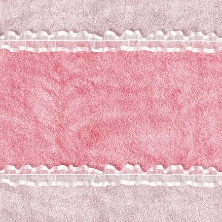 Card for invitation or congratulation with white laces on the abstract background