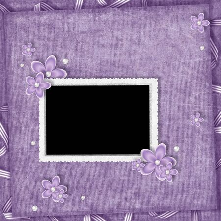card from flowers and pearl on the abstract background