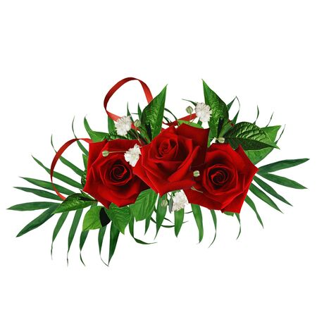 Card for the holiday  with red rose on the white background Stock Photo