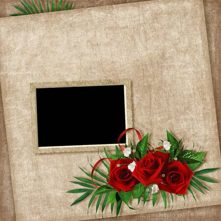 Vintage card for the holiday with flower on the abstract background photo