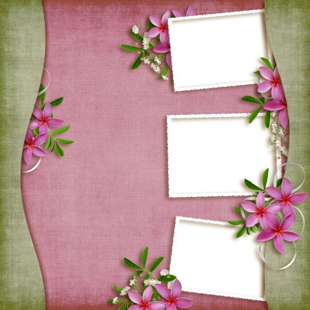 Card for the holiday  with flowers on the abstract background photo