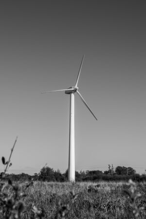Wind generator on a black and white background, monochrome