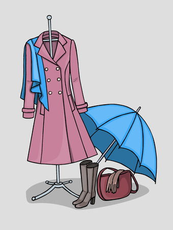 A dark pink coat with a blue scarf and an open umbrella standing on the floor next to the high boots and a purse where gloves are lying Illustration