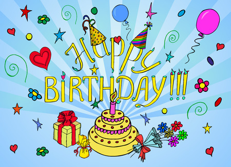Happy Birthday  words with colorful attributes of its celebration. Sketch style Vector