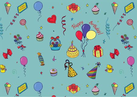 Happy Birthday Pattern made by colorful attributes of its celebration. Sketch style Vector