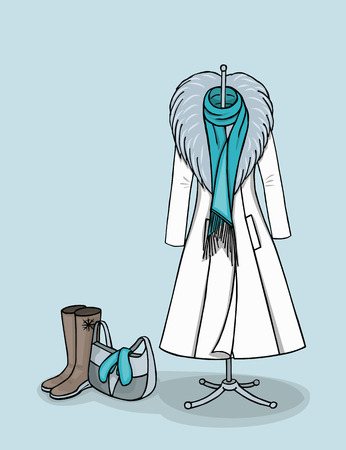 fur coat: Winter white coat with grey fur and turquoise long scarf on the hanger next to high boots and a purse where turquoise gloves are lying. Illustration