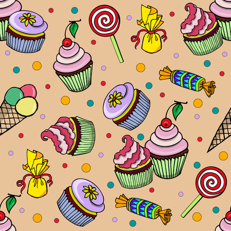wrappers: Pattern with cupcakes decorated with beautifully colored cream, yellow flowers, cherry and candies in colorful wrappers and colored jelly beans and ice cream and lollipops on a beige background Illustration