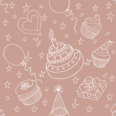 attributes: Happy Birthday Pattern with  attributes of its celebration on the pink background. Sketch style