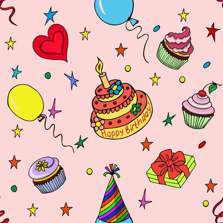 attributes: Happy Birthday Pattern with colorful attributes of its celebration on the pink background. Sketch style