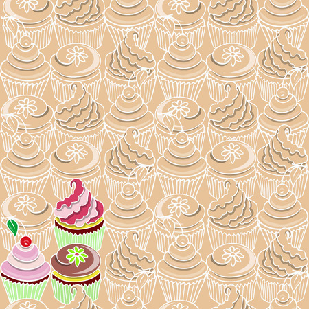 fancy pastry: Pattern  with cupcakes on a beige background and three colorful cupcakes Illustration