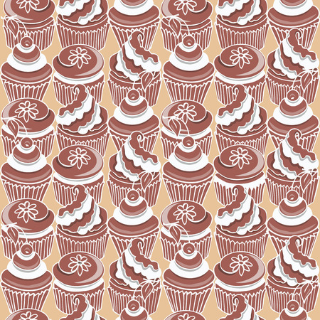 white cream: Pattern with chocolate cupcake decorated white cream on a beige background Illustration