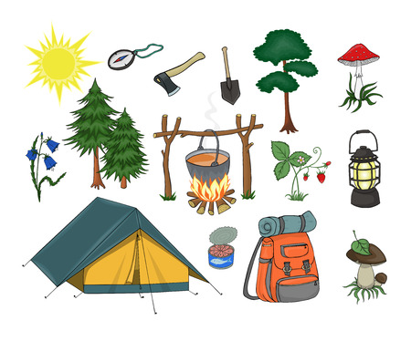 attributes: Attributes for camping, yellow tent with turquoise roof, compass, campfire, ax, shovel, lamp, canned fish, orange backpack and twisted mat and green spruce, bright sun, boletus and amanita on the grass