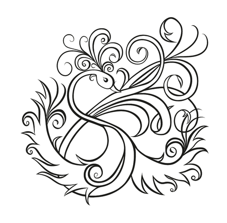 spread wings: Fantasy bird with tuft on the head and spread wings, and tail with of a beautiful long curling feathers on a white background. Sketch style, design the letter S Vectores