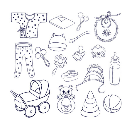 coif: Babies bottle with a soother, spoon, pacifier, rattles, roly-poly bear, pyramid, stroller, romper suit, babys loose jacket, bib, coif with frill, cap with ears, booties on the feet, diaper.Sketch style.