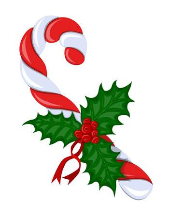 aquifolium: Symbol Christmas holiday.Beautiful,colorful,striped, twisted spiral candy cane and red berries of holly with green leaves and red ribbons on white background.Sketch style