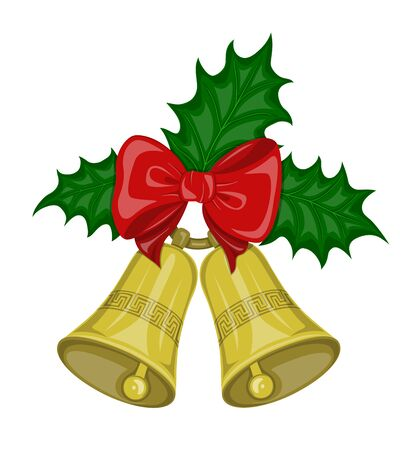 golden color: Two Christmas bells golden color on the ring  with decorative ornament  and  red bow and and green leaves holly on the white background. Symbol Christmas holiday.