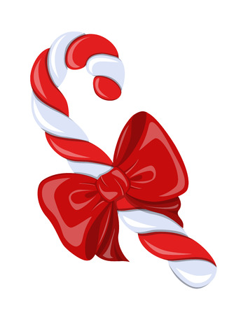 candycane: Beautiful,colorful,striped, twisted spiral candy cane and red satin bow on white background.Symbol Christmas holiday. Illustration