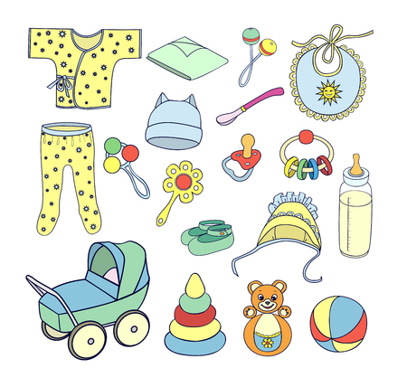 baby rattle: Babies things and toys set Illustration