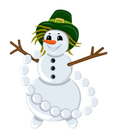 stubble: Snowman in a green hat with a gold buckle on the head and garland of snowballs on the white background