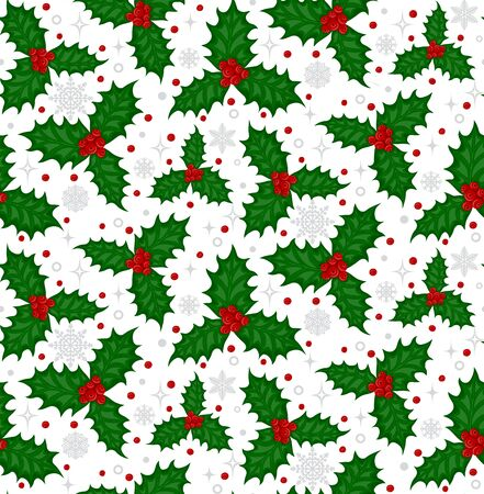 spiny: Colorful christmas seamless pattern with holly  berries and  green spiny leaves on a white background with silver gray snowflakes