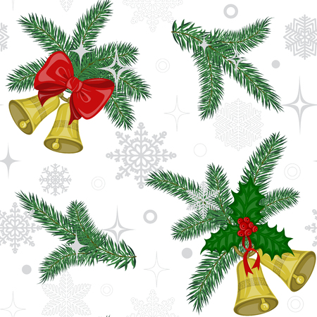 prickly fruit: Colorful christmas seamless pattern with  bells golden color decorated red bow and holly berries and green twigs pine on a white background with silver gray snowflakes Illustration