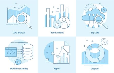 Modern thin line design for analysis, machine learning website icons. Vector illustration concept for business analysis, market research, product testing, data analysis. Report with diagram, chart. Çizim
