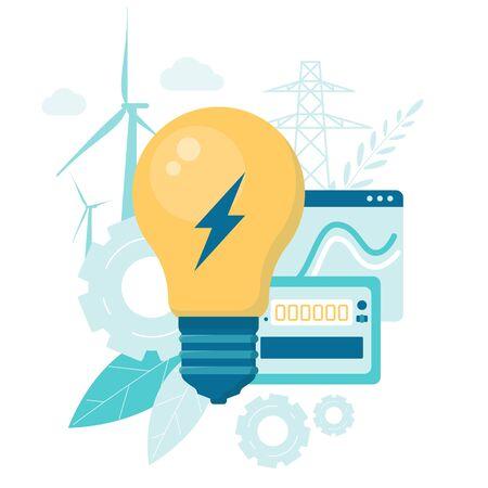 Ilustración de vector de energía renovable alternativa. Consumo de energía inteligente. Mantenimiento Aerogenerador. Ilustración de vector de dibujos animados plana Ilustración de vector