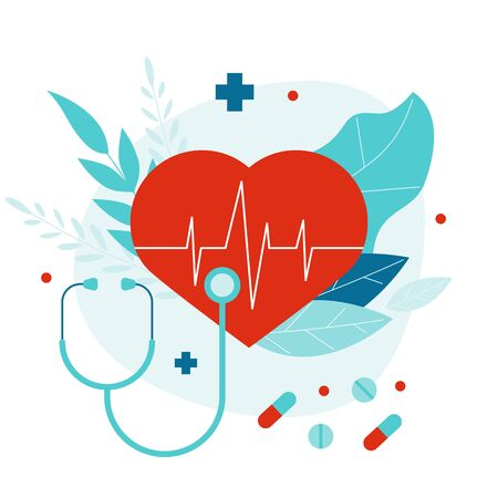 Flat vector illustration with heart and stethoscope. Routine medical examination
