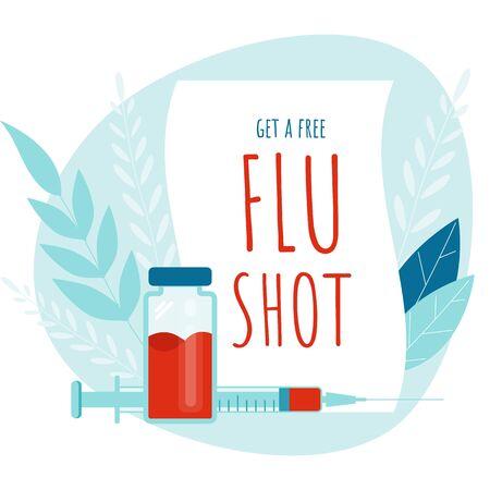 Vaccination. Flu Shot. Medical poster. Health care. Vector medicine Imagens - 132111614