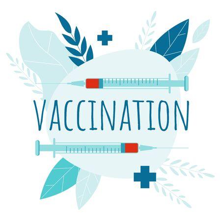 Vaccination. Flu Shot. Medical poster. Health care. Vector medicine online banner. Medic infographic Illustration