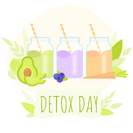 Detox day with vegetables smoothie. Jars with healthy diet juices. Vector cartoon concept